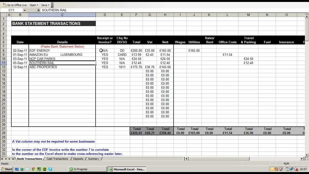 Using An Excel Spreadsheet To Record And Break Down Business ... Along With Expenses For Self Employed Spreadsheet
