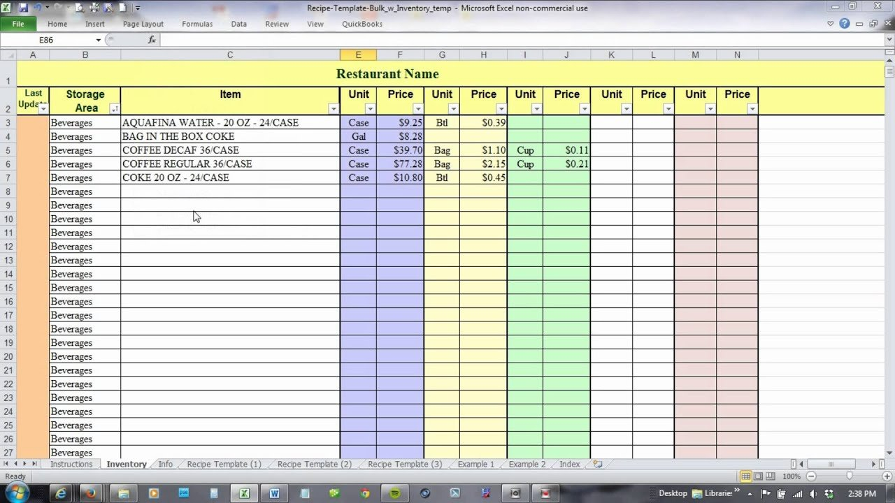 Using Excel For Recipe Costing And Inventory Linking   Youtube Inside Beverage Cost Spreadsheet