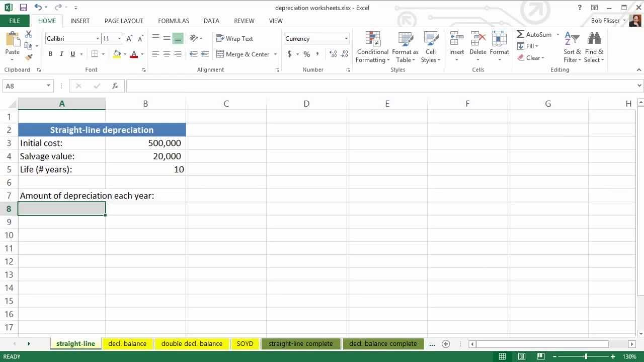 Using Spreadsheets For Finance: How To Calculate Depreciation With Fixed Asset Depreciation Excel Spreadsheet