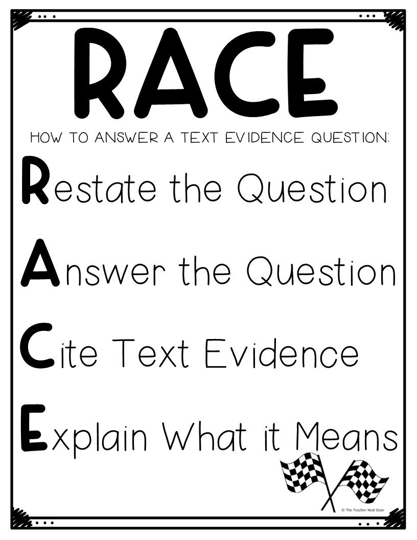 Using The Race Strategy For Text Evidence Intended For Race Writing Strategy Worksheet