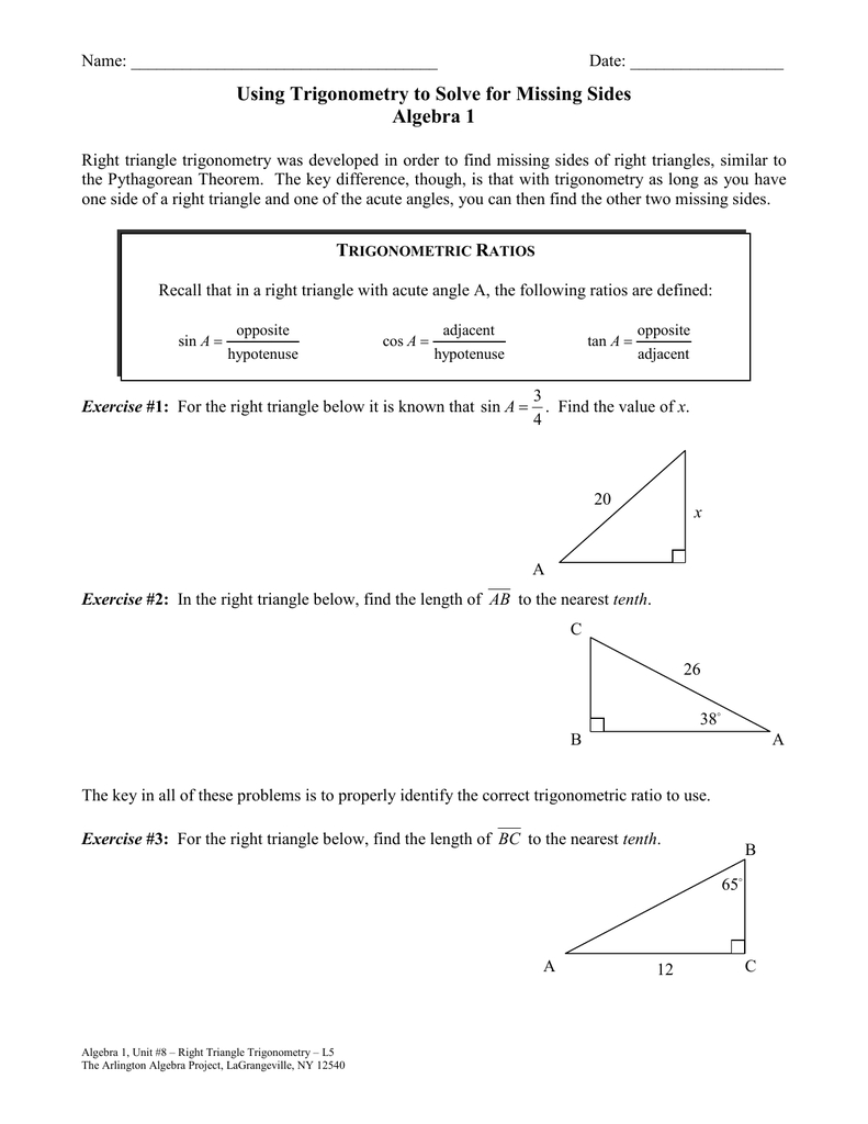 Right Triangle Trig Finding Missing Sides And Angles ...