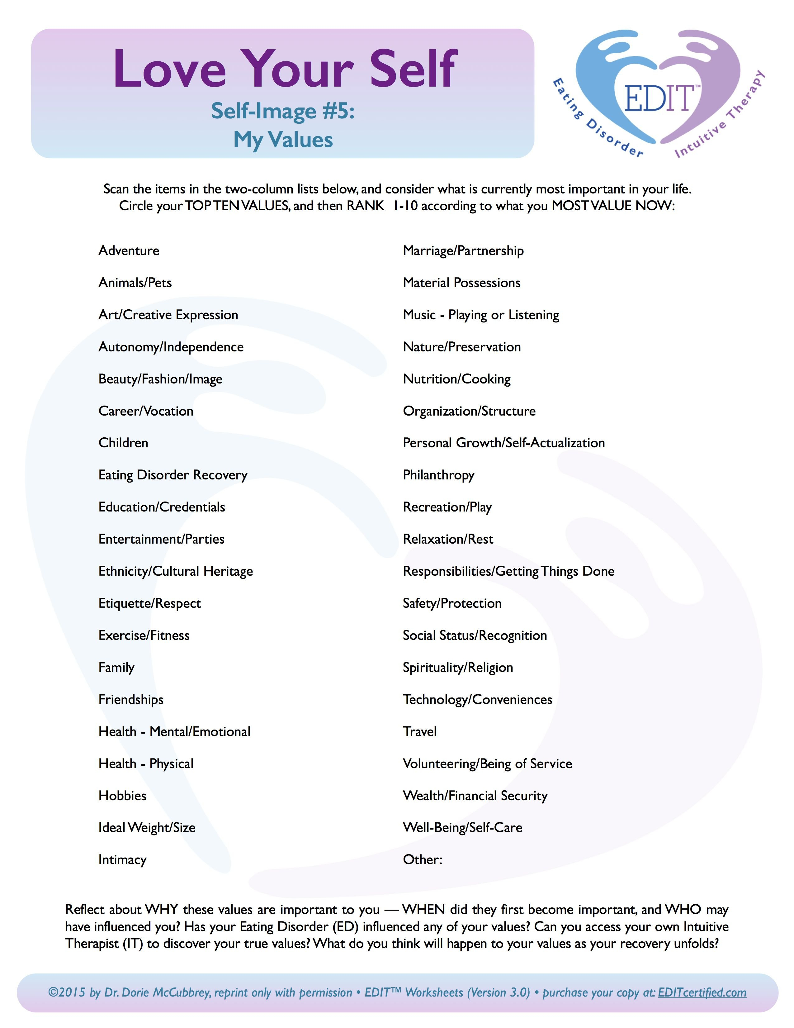 Values Clarification In Eating Disorder Recovery  Dr Dorie As Well As Eating Disorder Treatment Worksheets