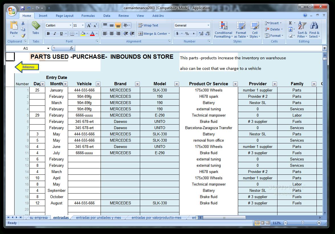 Vehicle Maintenance Spreadsheet Template | Car Maintenance Tips ... Together With Fuel Spreadsheet
