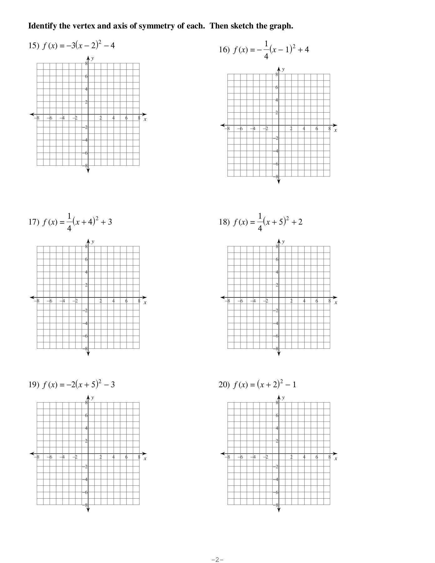 Vertex Form Of Parabolas Worksheet  Kuta Software Llc Pages 1  4 Inside Graphing A Parabola From Vertex Form Worksheet Answer Key
