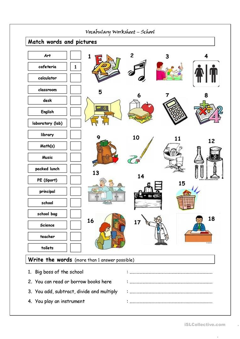 Vocabulary Matching Worksheet  School Worksheet  Free Esl Together With High School Vocabulary Worksheets