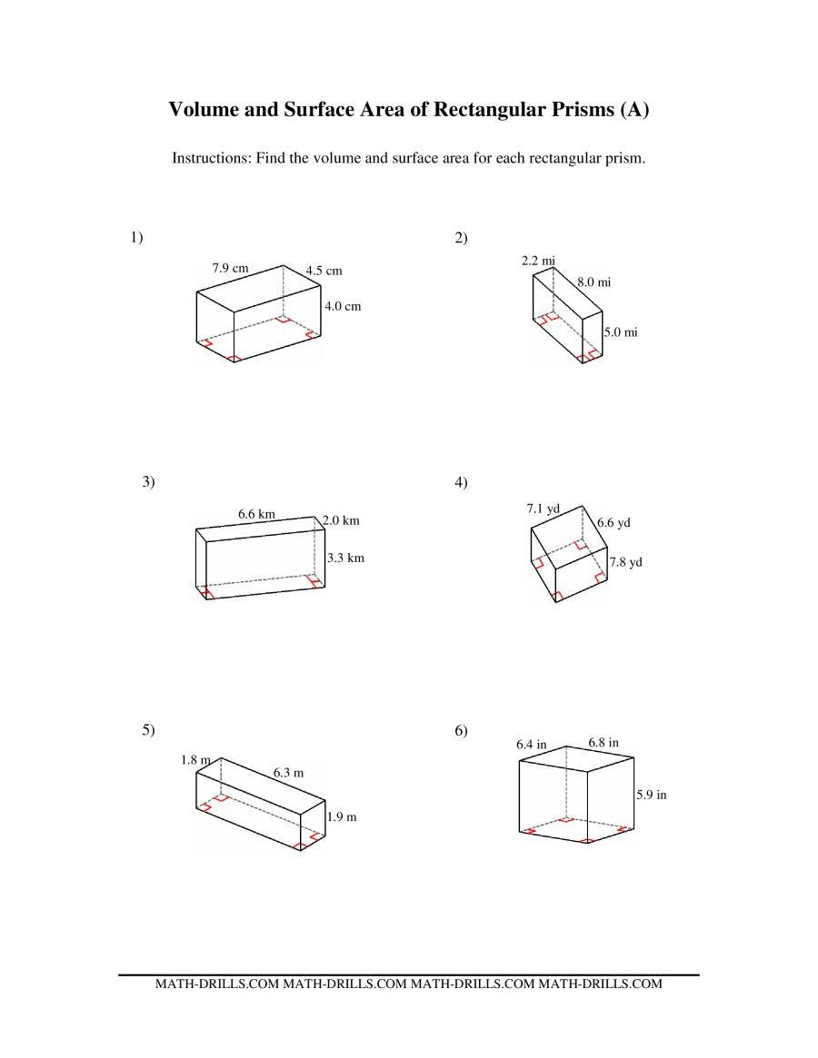Volume And Surface Area Of Rectangular Prisms A For Surface Area Worksheet Pdf