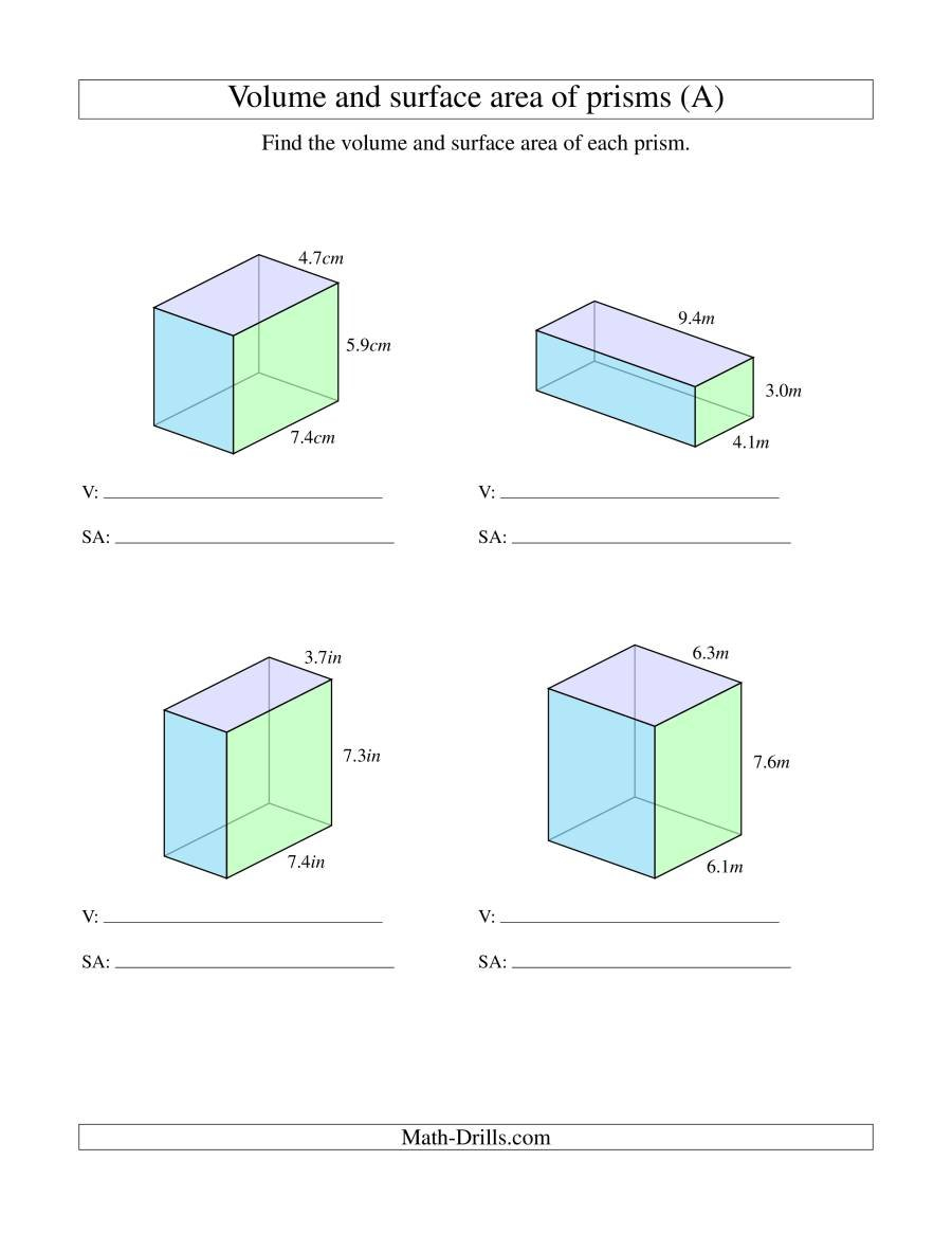 Volume And Surface Area Of Rectangular Prisms With Decimal Numbers A Throughout Volume Of A Cylinder Worksheet Pdf
