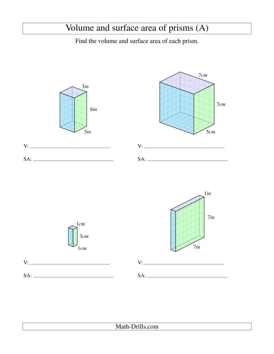 Volume And Surface Area Of Rectangular Prisms With Whole Numbers A Pertaining To Surface Area Worksheet 7Th Grade