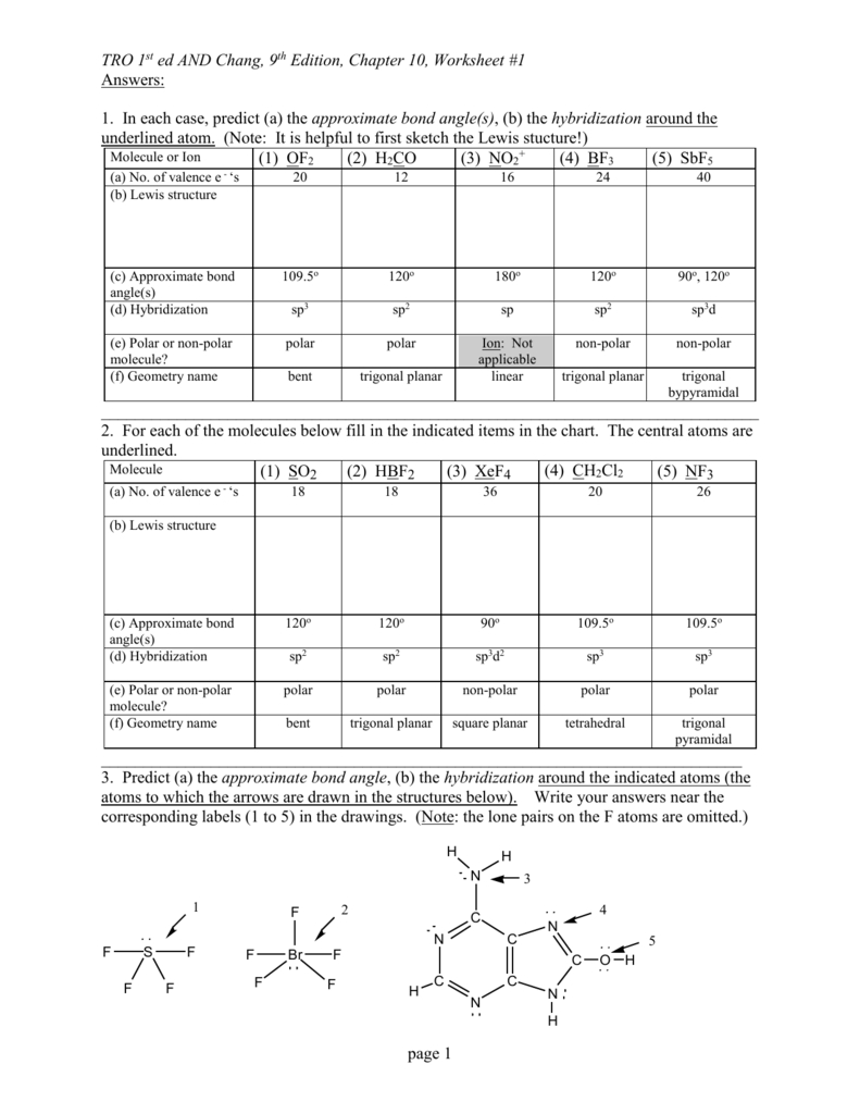 Vsepr Wkst 1 Answers With Regard To Lewis Structure And Molecular Geometry Worksheet