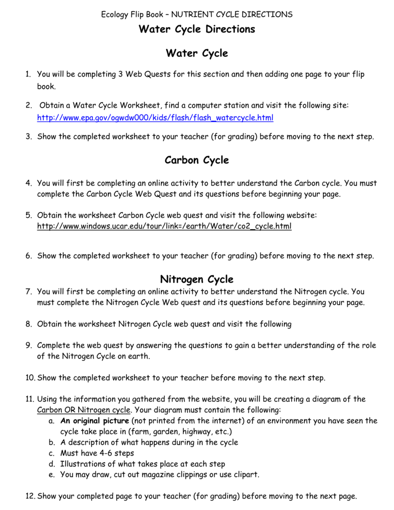 Water Cycle Directions Water Cycle Carbon Cycle Nitrogen Cycle Or Water Carbon And Nitrogen Cycle Worksheet Answers