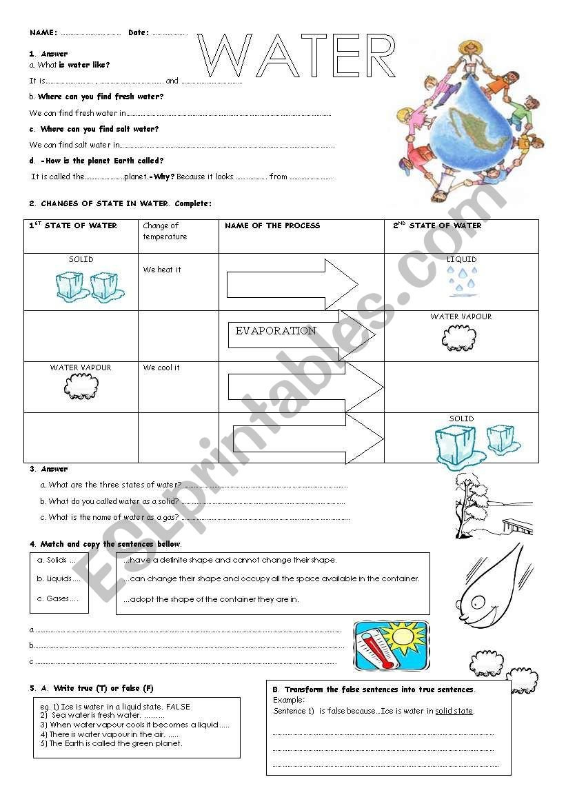 Water  Esl Worksheetmaytechuna Together With Freshwater And Saltwater Worksheets For 2Nd Grade