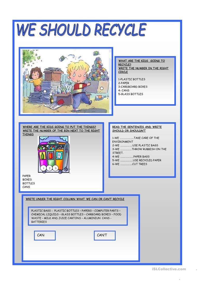We Should Recycle Worksheet  Free Esl Printable Worksheets Made Within Recycling Worksheets For Kids