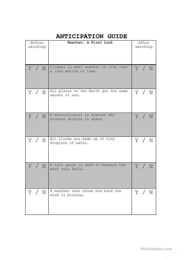 Weather  Anticipation Guide Worksheet  Free Esl Printable Regarding Anticipation Guide Worksheet Answers