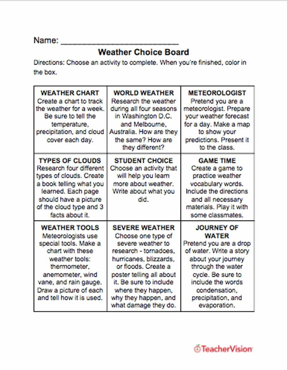 Weather Worksheets Lessons Resources Grades K12  Teachervision As Well As Weather Worksheets For Middle School