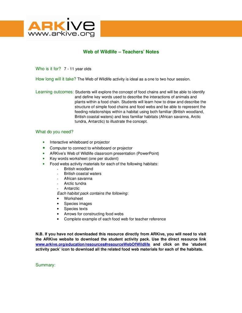 Web Of Wildlife Age 711  Stem With Food Web Practice Worksheet