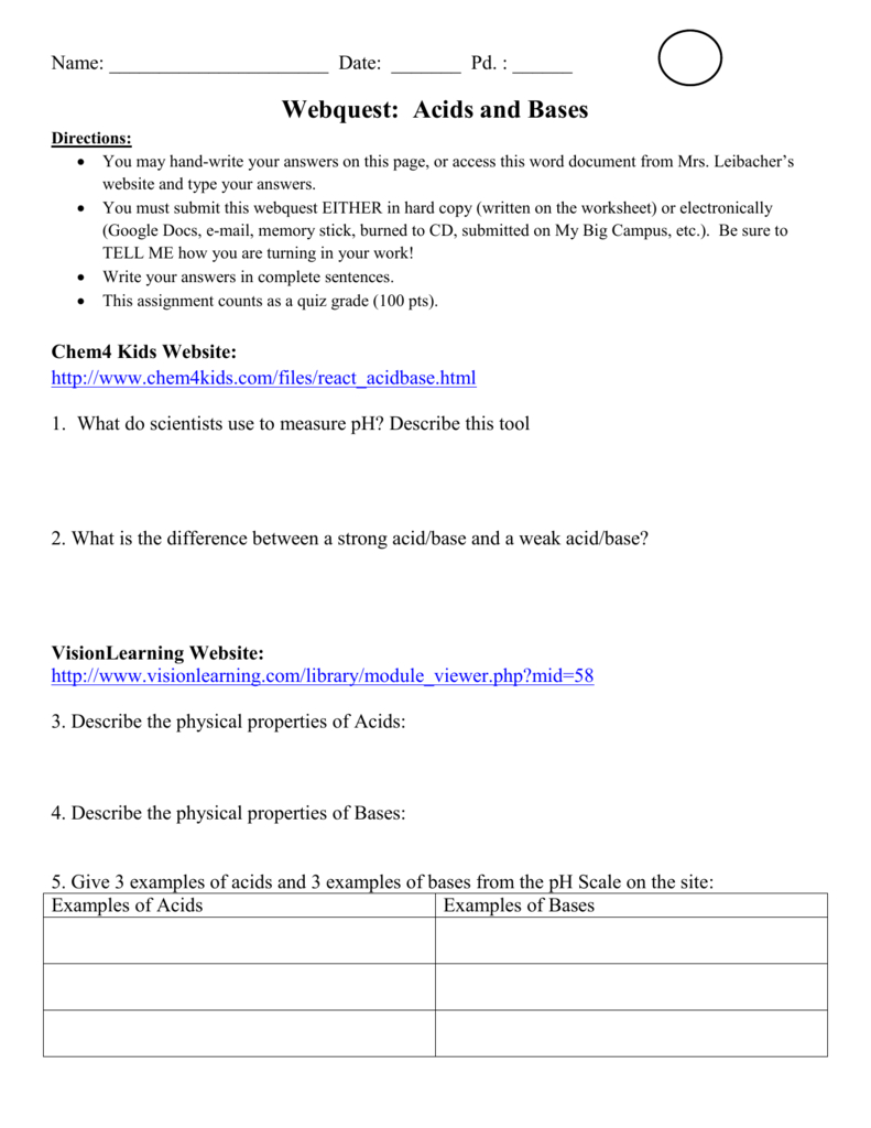 Webquest Acids And Bases Along With Acids And Bases Worksheet Middle School