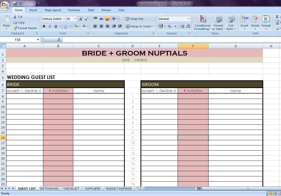 Wedding Checklist Excel   Along With Indian Wedding Checklist Excel Spreadsheet