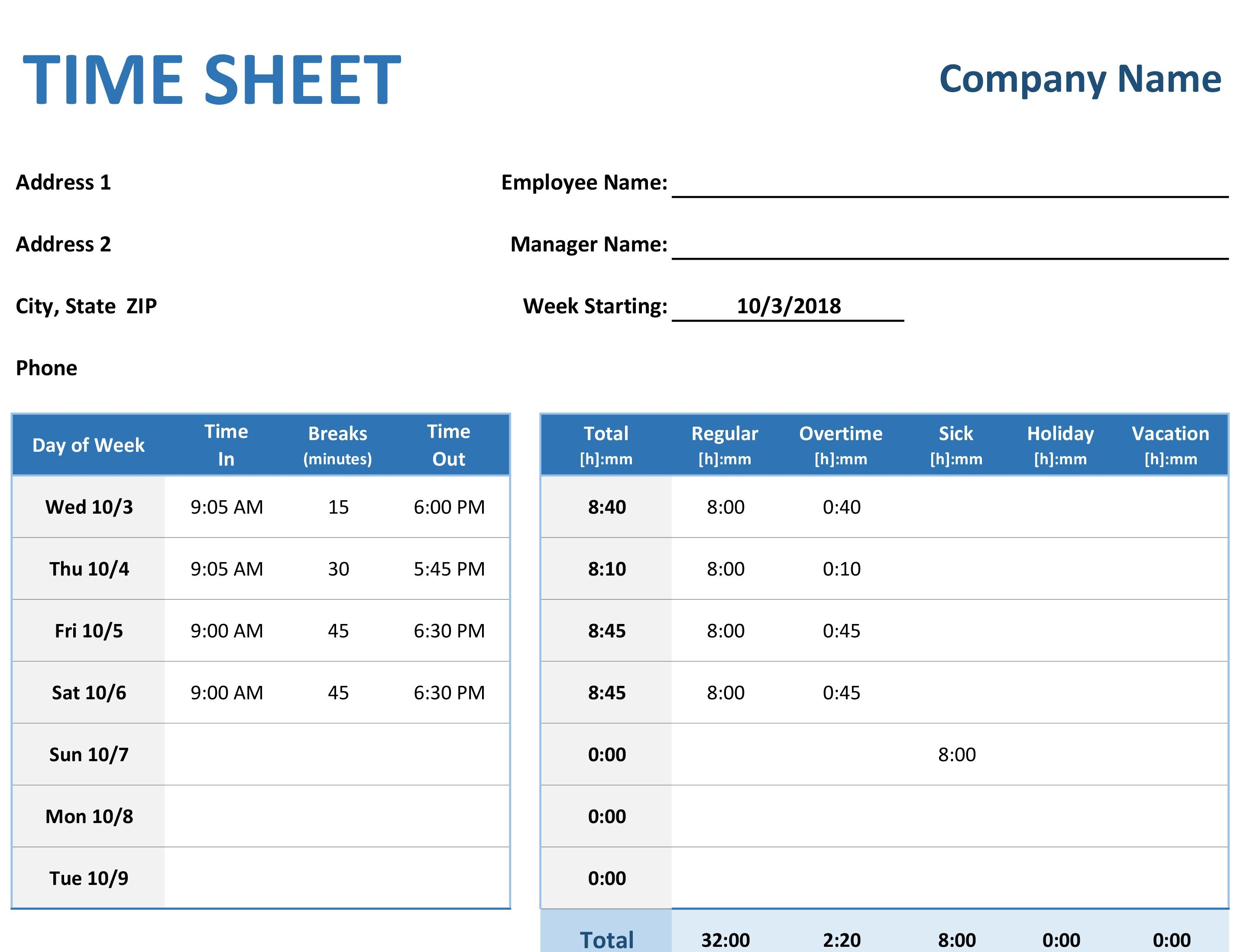 Weekly Time Sheet With Tasks And Overtime Along With Time Spreadsheet Template