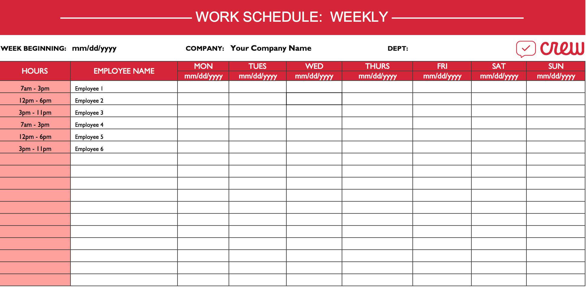Weekly Work Schedule Template I Crew With Employee Work Schedule Spreadsheet