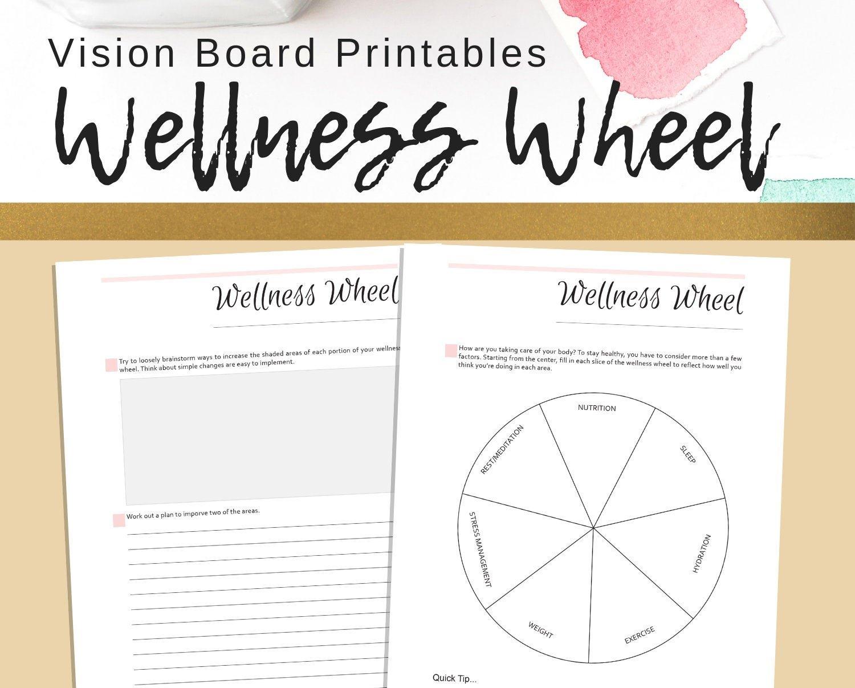 Wellness Wheel Goal Setting Printables Personal  Etsy Regarding Wellness Wheel Worksheet
