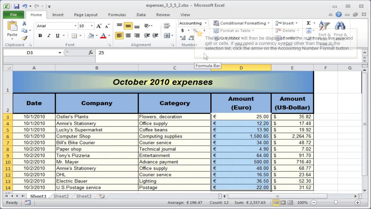 What Is Accounting Style In Excel Regarding Bookkeeping With Excel 2010