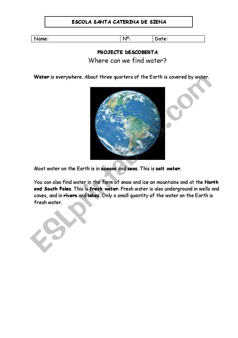 Where Can You Find Water  Esl Worksheetarnartur With Regard To Freshwater And Saltwater Worksheets For 2Nd Grade