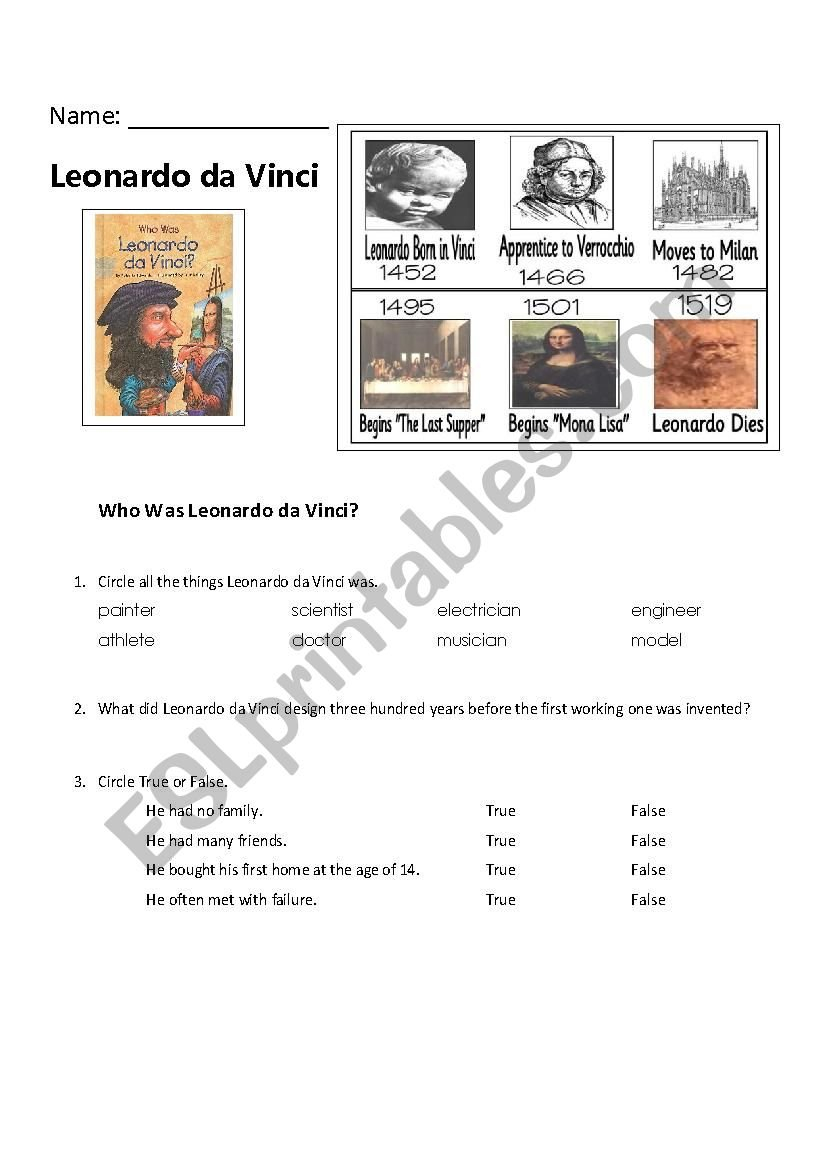 Who Was Series Leonardo Da Vinci  Esl Worksheetkenzn516 Together With Leonardo Da Vinci Inventions Worksheet