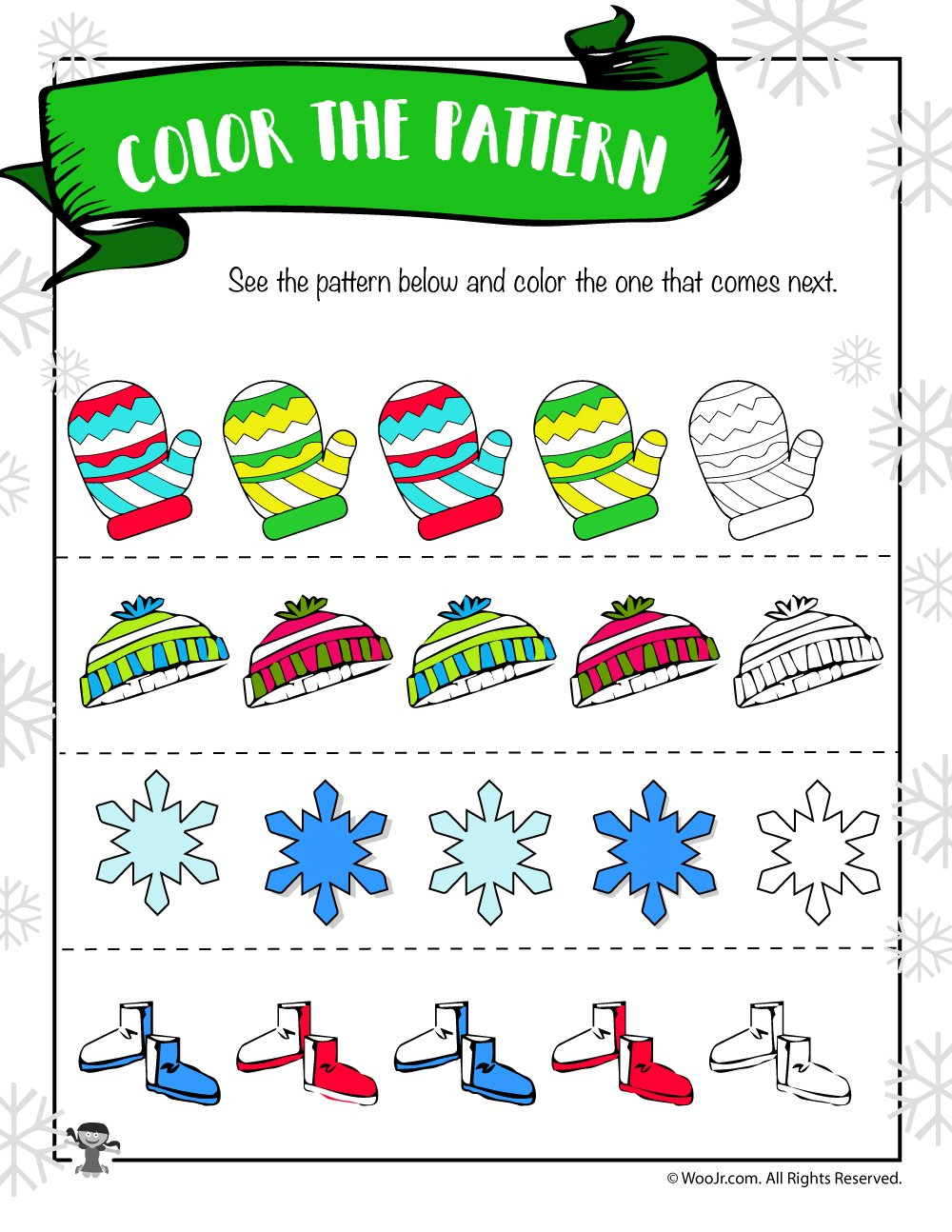 Winter Math Worksheet  Color The Pattern  Woo Jr Kids Activities Throughout On The Button Math Worksheet