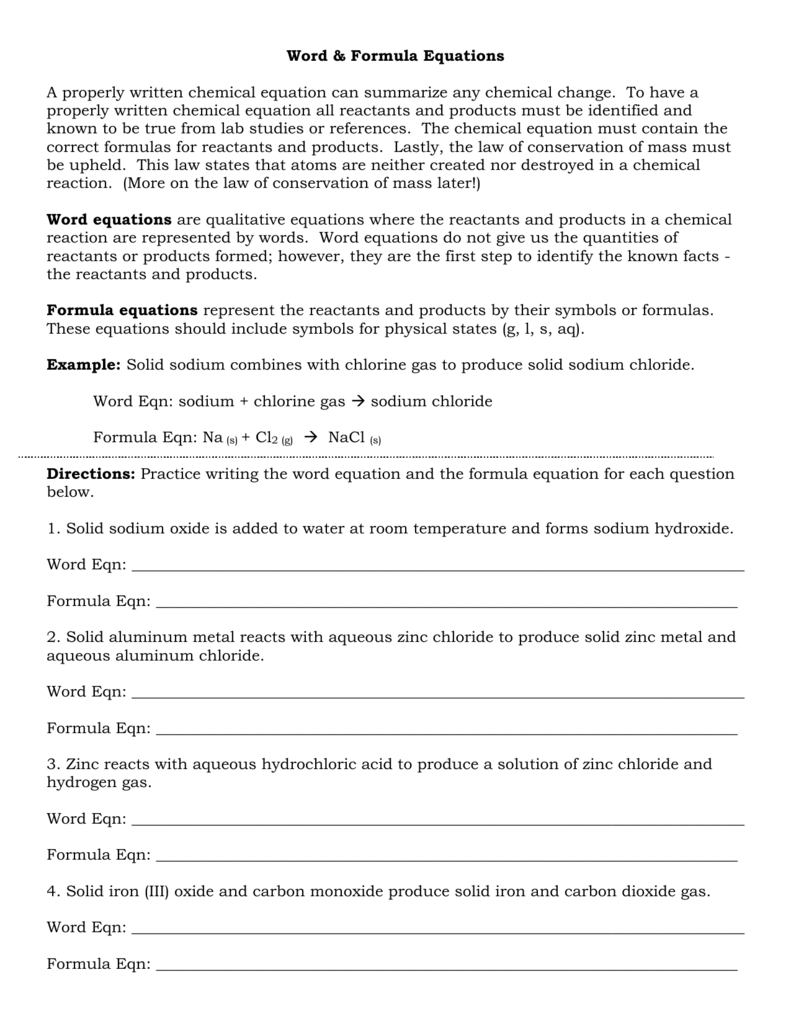 Word And Formula Equations Worksheet And Word Equations Worksheet