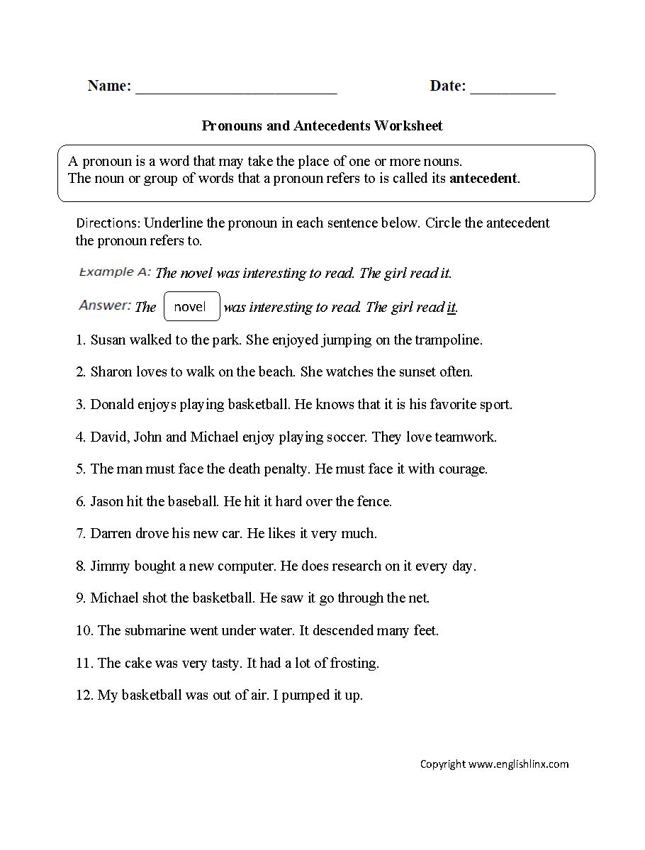 Word Usage Worksheets  Pronoun Agreement Worksheets Pertaining To Pronoun Agreement Worksheet Pdf