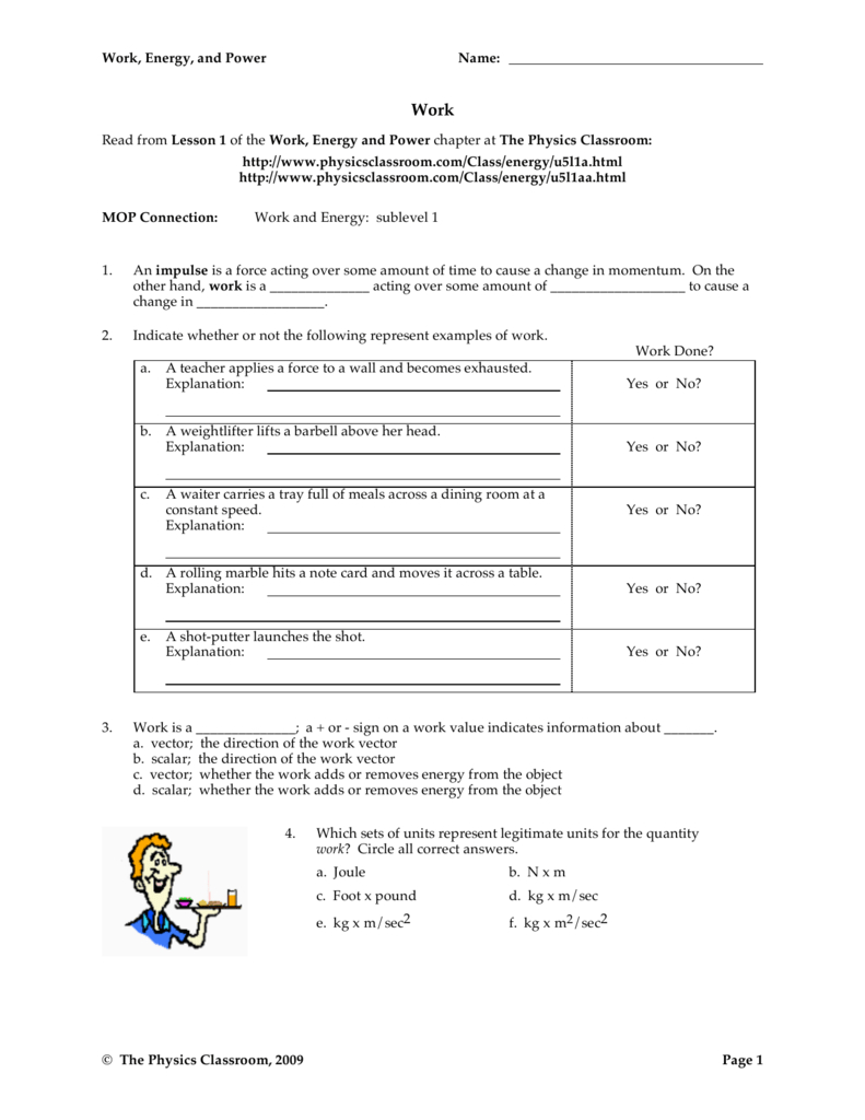 Work Energy And Power Worksheet Answers — excelguider.com