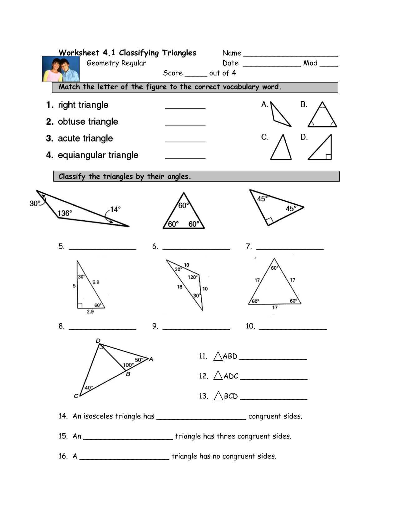 Worksheet 41 Classifying Triangles Or Classifying Triangles Worksheet With Answer Key