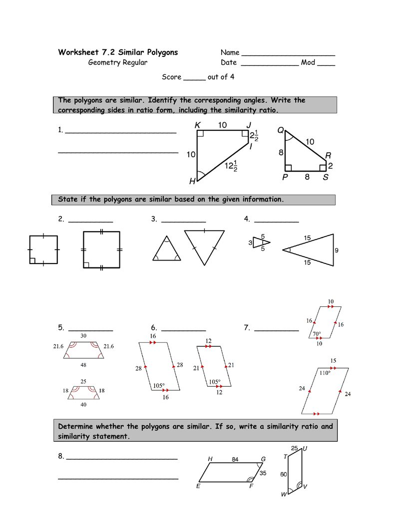 Worksheet 72 Similar Polygons Inside Similar Polygons Worksheet Answers
