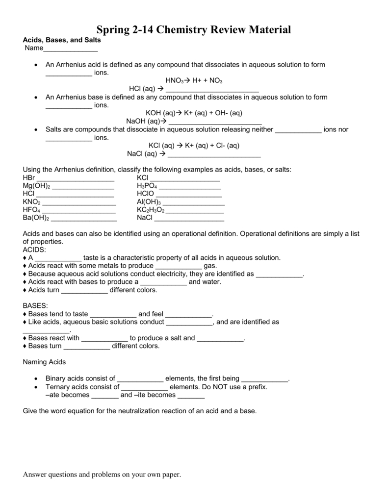 Worksheet Acids Bases And Salts Review And Acids And Bases Worksheet Answers