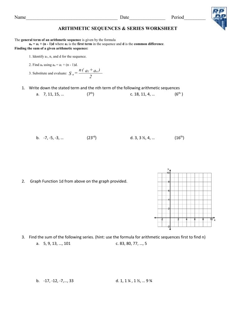 Worksheet Arithmetic Sequence  Series Word Problems Within Arithmetic Sequences And Series Worksheet Answers