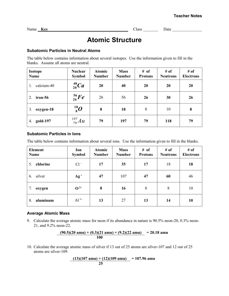 Worksheet  Atomic Structure  Teacher Within Protons Neutrons Electrons Atomic And Mass Worksheet Answers