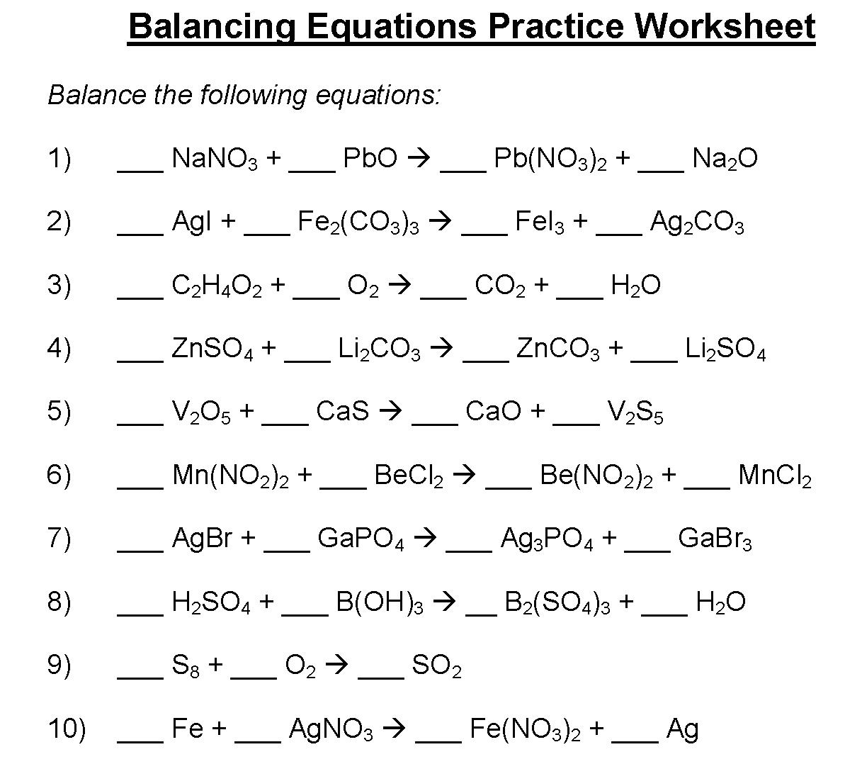 Worksheet Balancing Equations Practice Worksheet Balancing With Regard To Balancing Chemical Equations Practice Worksheet