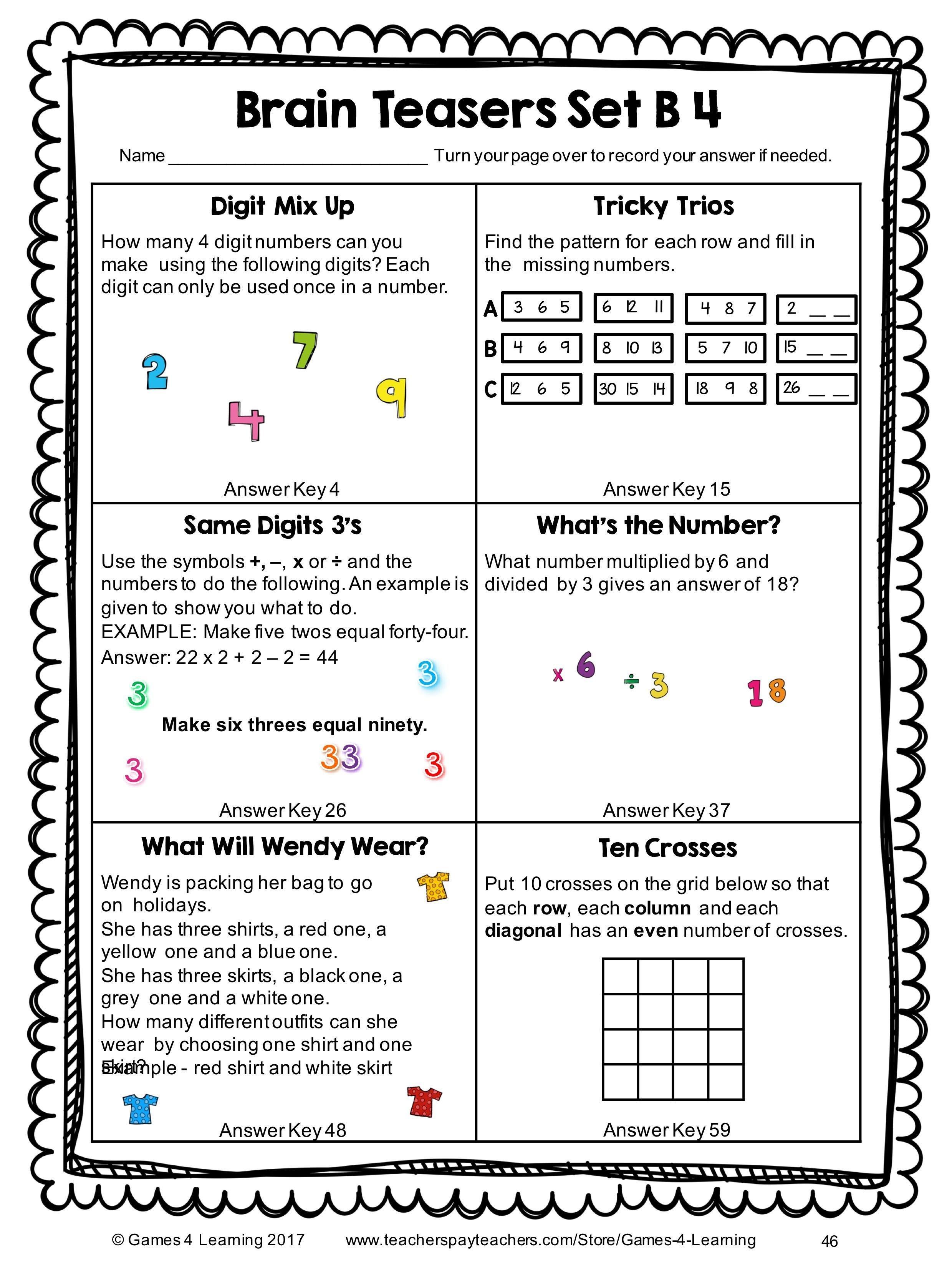 Worksheet Brain Teasers Worksheets Printable Brain Teaser Together With Brain Teasers Worksheets Pdf