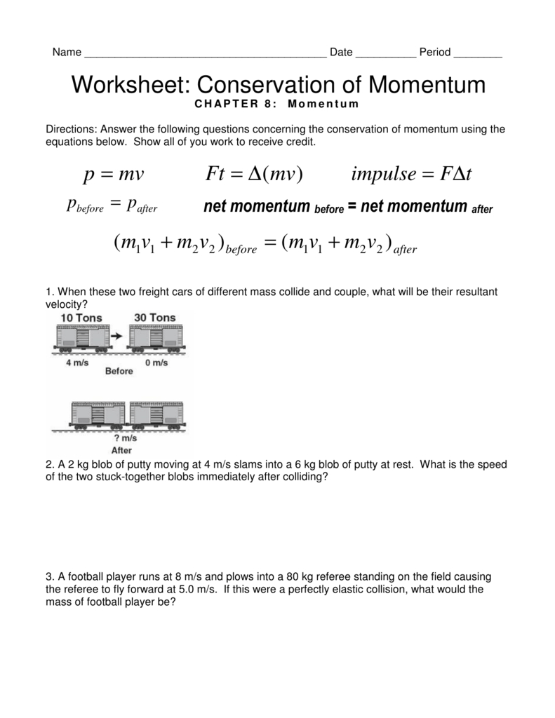 Worksheet Conservation Of Momentum With Momentum Worksheet Answers