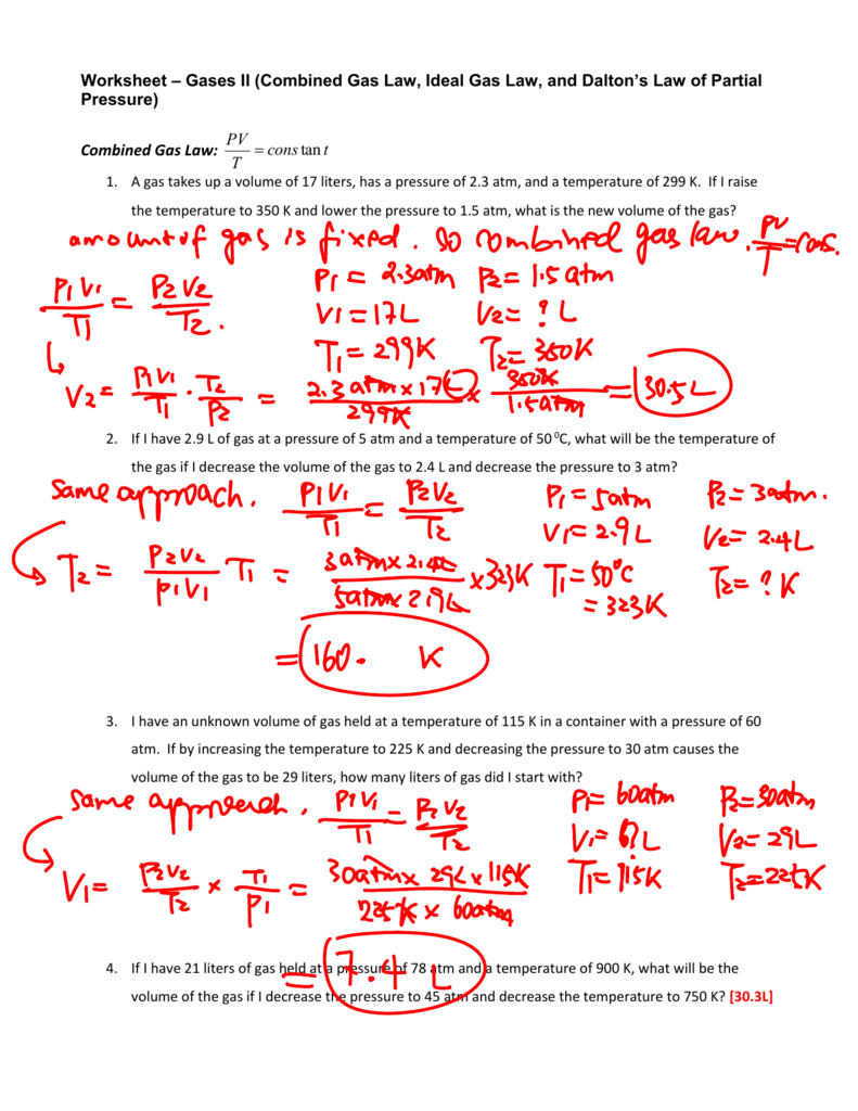 Worksheet  Gas Laws Ii Answers Inside Combined Gas Law Problems Worksheet Answers