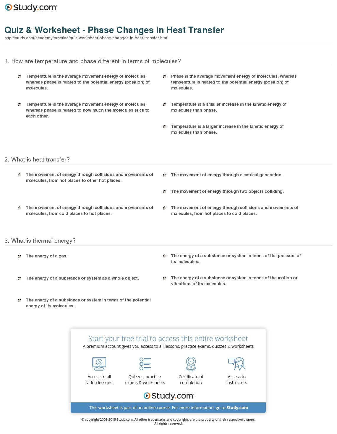 Worksheet Heat Transfer Worksheet Quiz Worksheet Phase Changes In Pertaining To Thermal Energy Worksheet Middle School