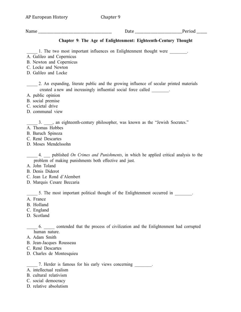 Worksheet Intended For The Enlightenment Worksheet
