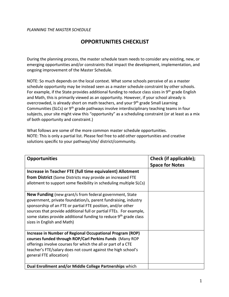 Worksheet Opportunities Checklist Throughout Occupational Course Of Study Worksheets