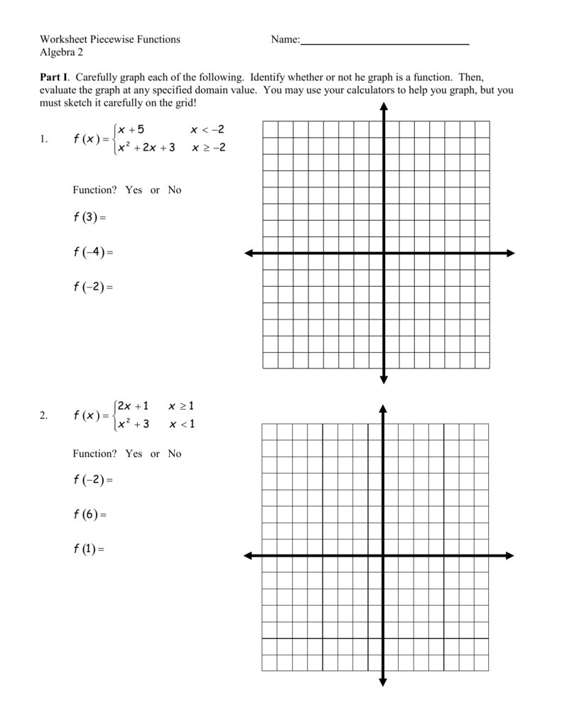 Worksheet Piecewise Functions Or Piecewise Functions Worksheet 1 Answers