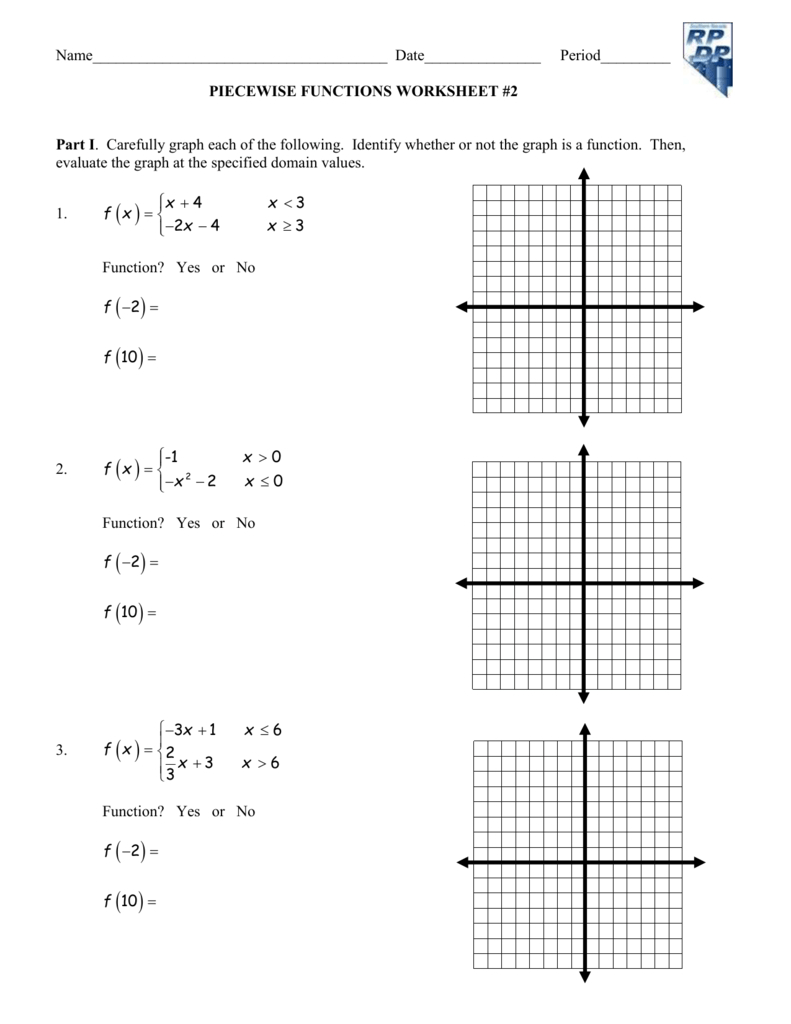 Worksheet Piecewise Functions Together With Piecewise Functions Worksheet 1 Answers