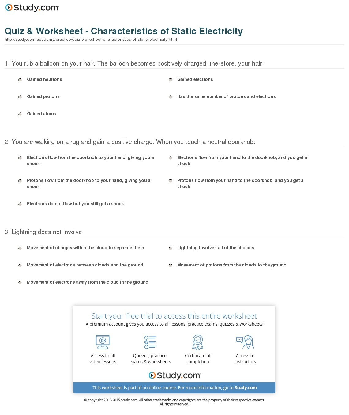 Worksheet Static Electricity Worksheet Quiz Worksheet Or Electricity Worksheet Pdf