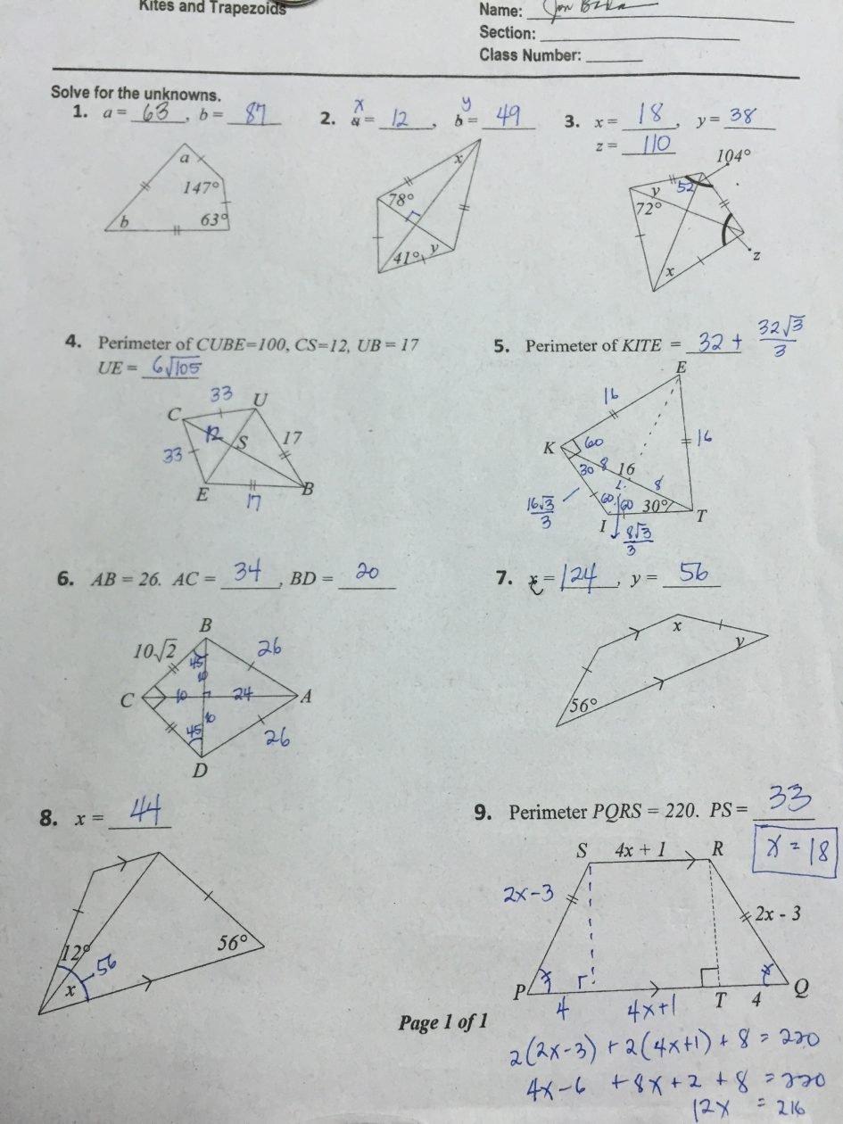Worksheet Triangle Sum Theorem Worksheet Pythagorean Theorem Also Geometry Worksheet Kites And Trapezoids Answers Key