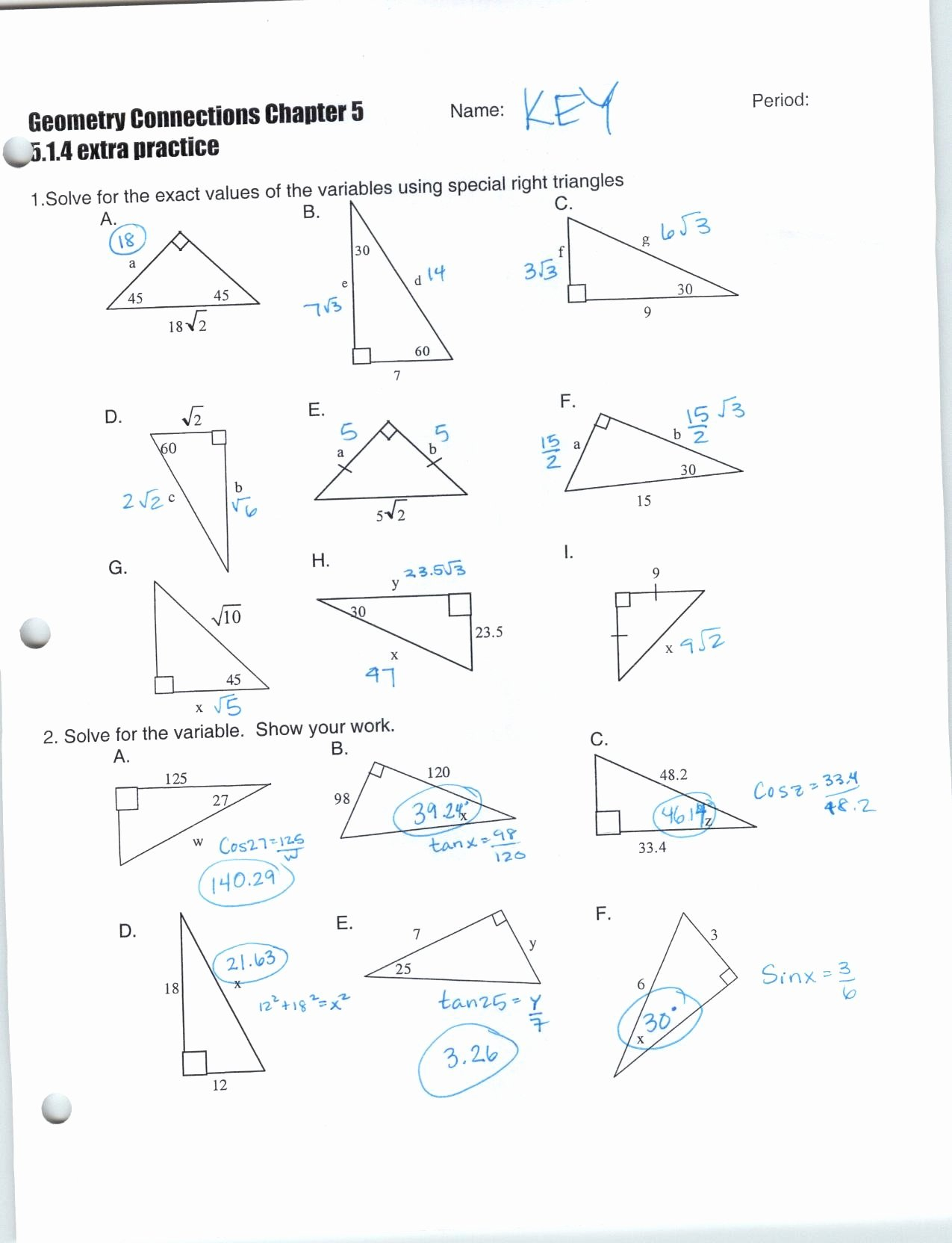 Worksheet Trigonometric Ratios Worksheet Worksheet On Trig Ratios Throughout Right Triangle Trigonometry Worksheet Answers