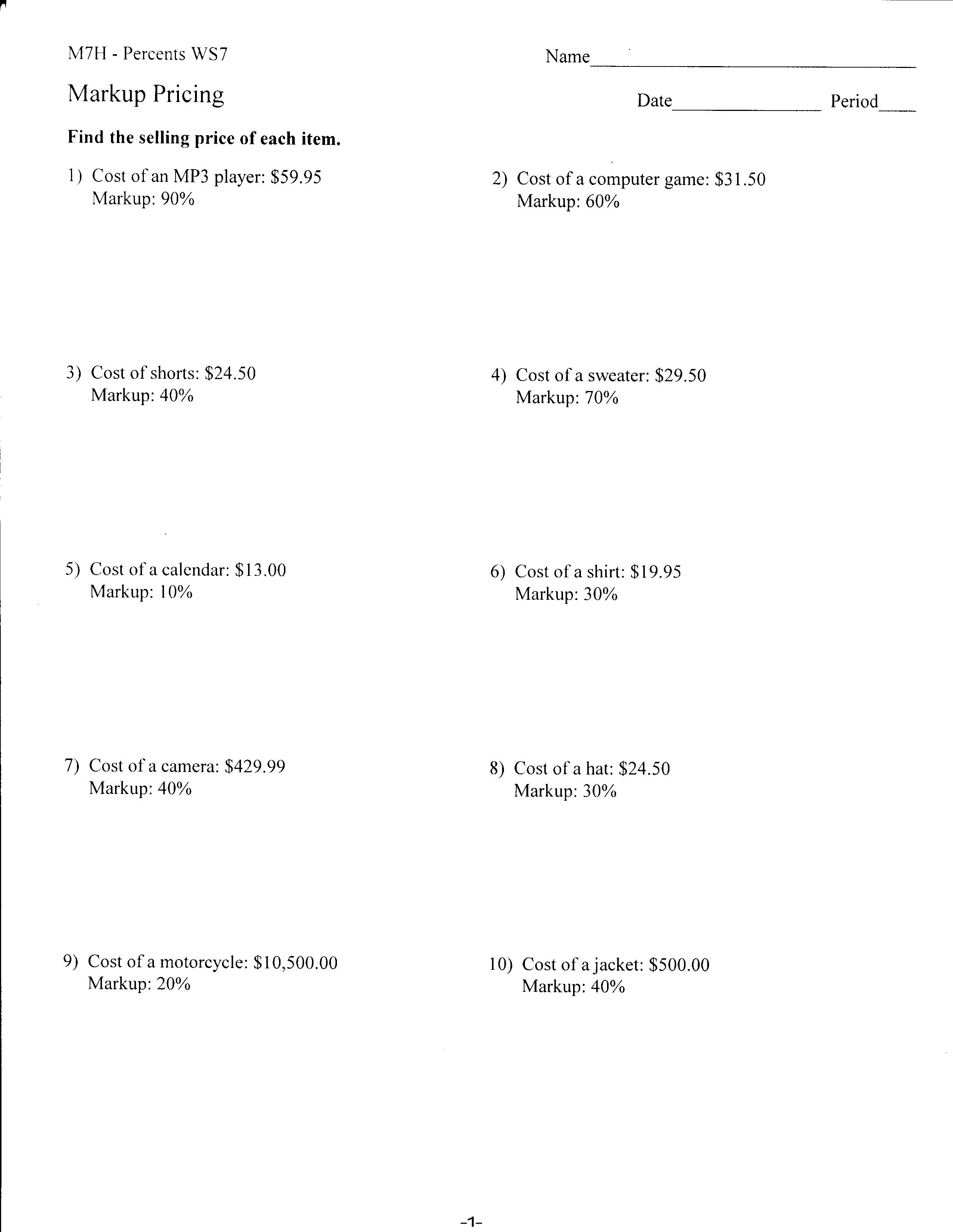 Worksheets  Mrs Lay's Webpage 201112 In Markup And Discount Worksheet
