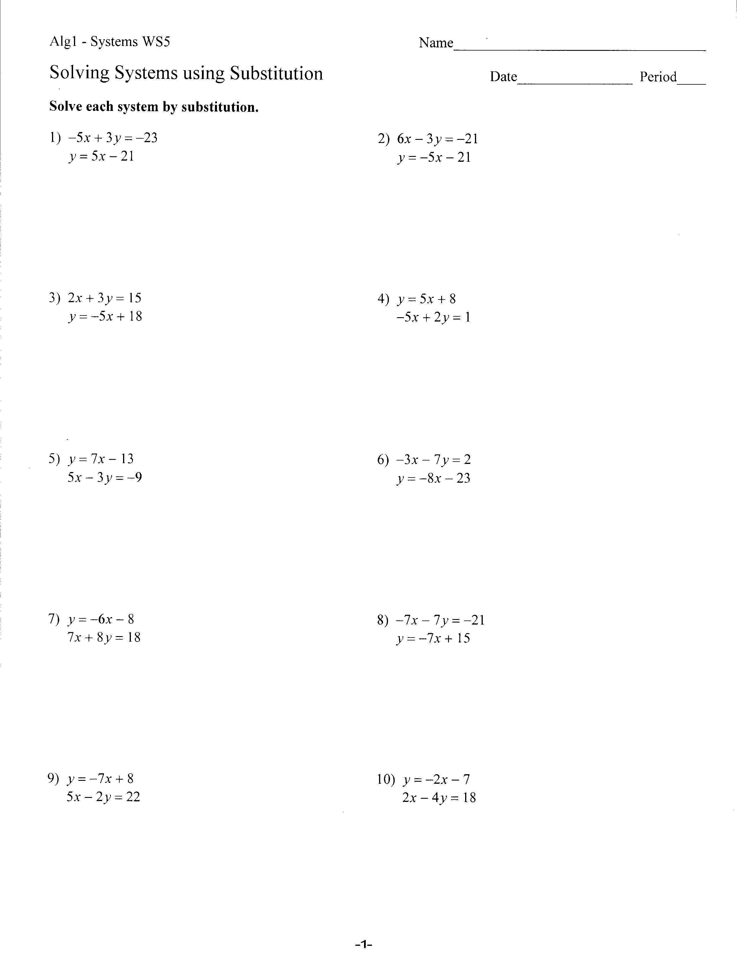 Worksheets  Mrs Lay's Webpage 201112 In Solving Systems By Substitution Worksheet